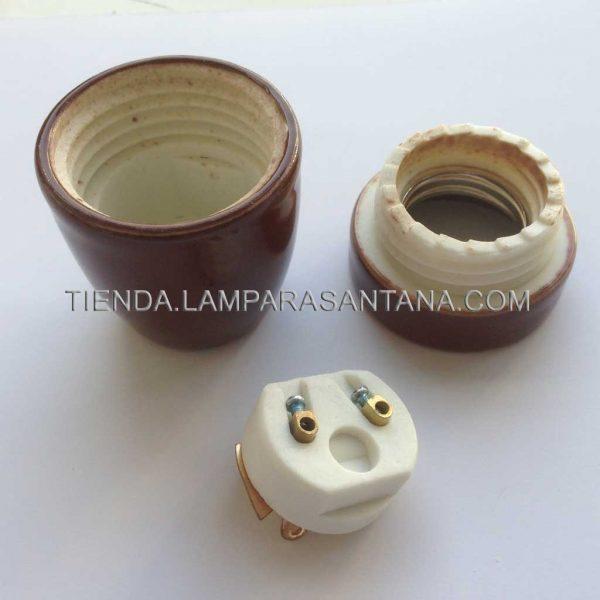 portalamparas ceramica marron