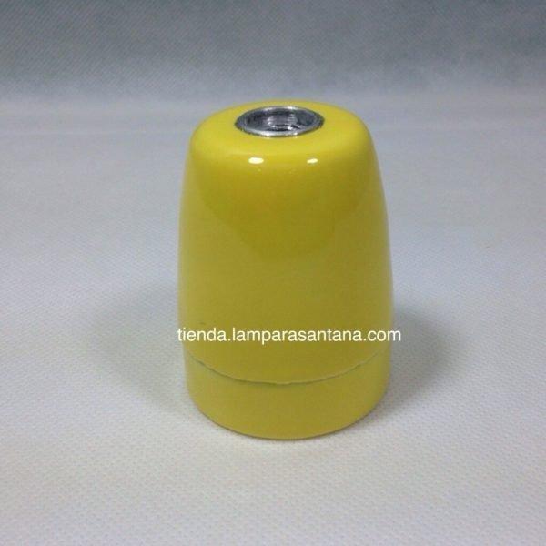 portalamparas ceramico esmaltado amarillo