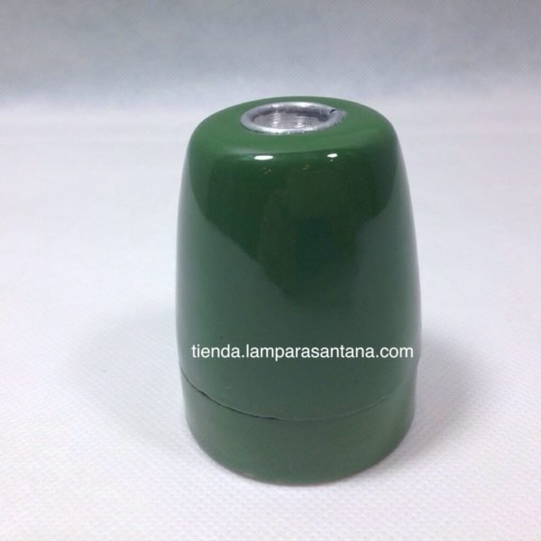 portalamparas ceramico esmaltado verde