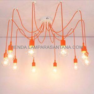 lampara-araña-silicona-naranja