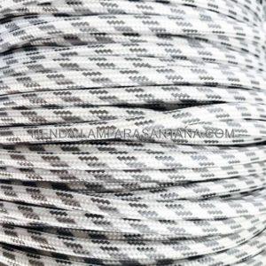 cable elextrico textil gris plata