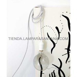 cable electrico textil gris plata