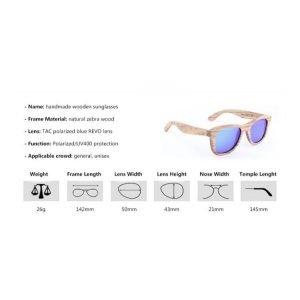 Gafas de sol unisex madera