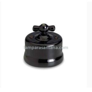 Interruptor retro porcelana negro