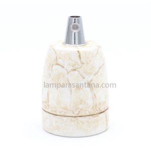 Portalámpara porcelana esmaltado dorado mármol