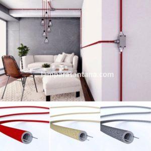 Tubo decorativo textil para instalaciones eléctricas vista