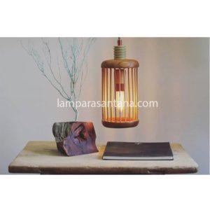 Lámpara colgante madera jaula