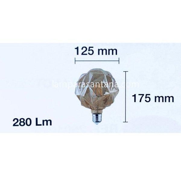 Bombilla globo led Ámbar modelo diamante
