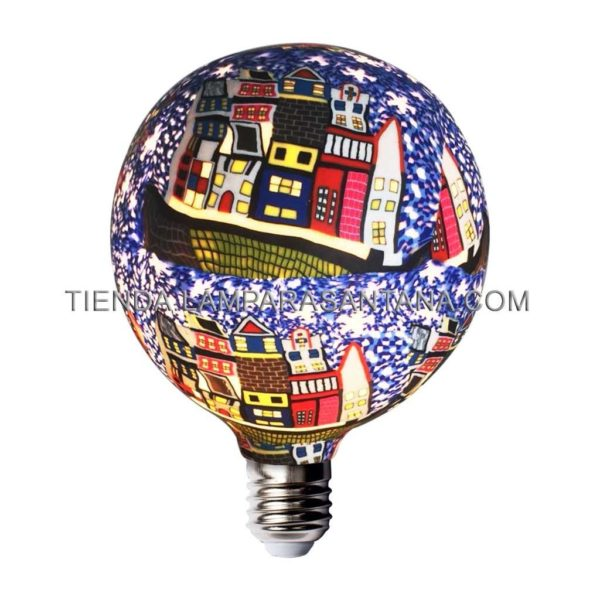 Bombilla led decorativa de silicona modelo globo E27 fondo casas