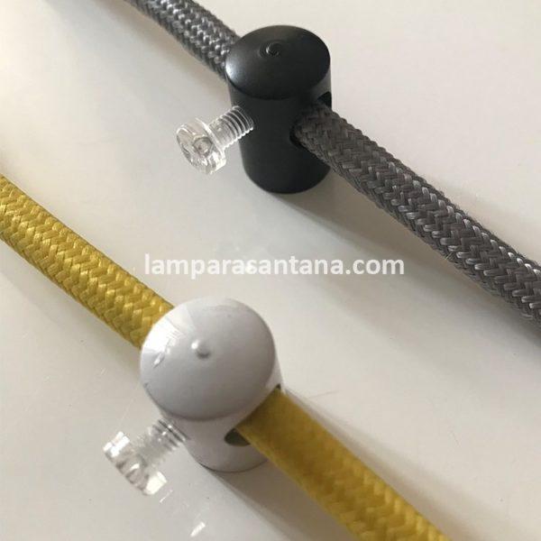Sujeción metálica con prisionero para cables textiles y silicona