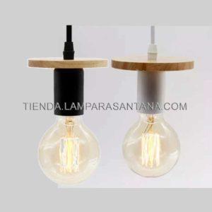 Lámpara colgante disco madera y metal