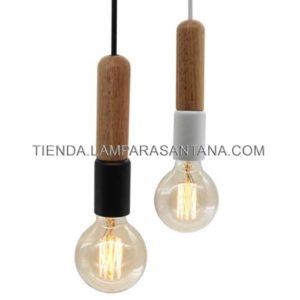 Lámpara colgante tubular madera y metal